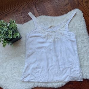 AERIE White Floral Scallop Trim Swing Tank Top
